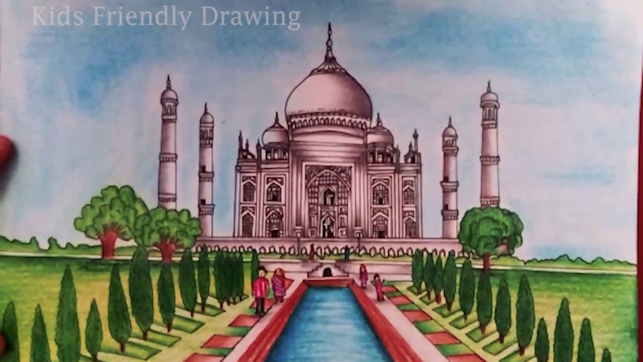 how to draw taj mahal step by step easy taj mahal drawing