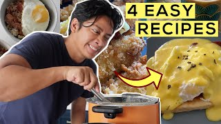 4 Easy Recipes: (Eggs Ben + Cheese Sticks + Spam Fried Rice + Peanut Butter Banana Smoothie)