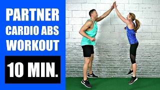 10 MINUTE PARTNER WORKOUT WITH CARDIO ABS EXERCISES | Fat Burning Bodyweight Partner Workout Routine