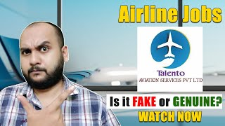 Is Talento Aviation Services Pvt. Ltd. Fake or Genuine? | Airline Jobs 2021 | airline jobs 10th pass