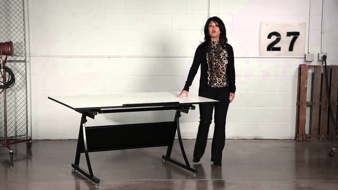 Safco Planmaster Height Adjustable Drafting Table Youtube