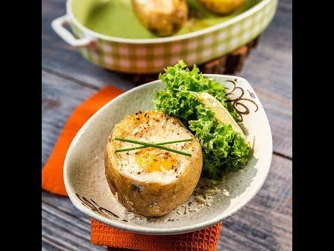 Cartofi copți umpluți cu ouă