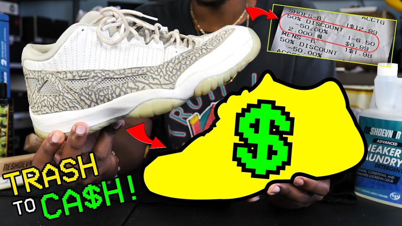 70a296166005ad HOW TO TURN TRASH SNEAKERS TO CASH! AIR JORDAN 11 RESTORATION! (FOUND AT  THE THRIFT STORE)