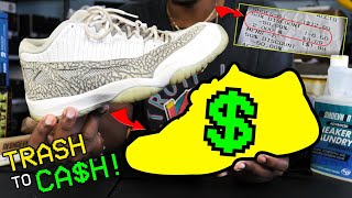 HOW TO TURN TRASH SNEAKERS TO CASH! AIR JORDAN 11 RESTORATION! (FOUND AT THE THRIFT STORE)