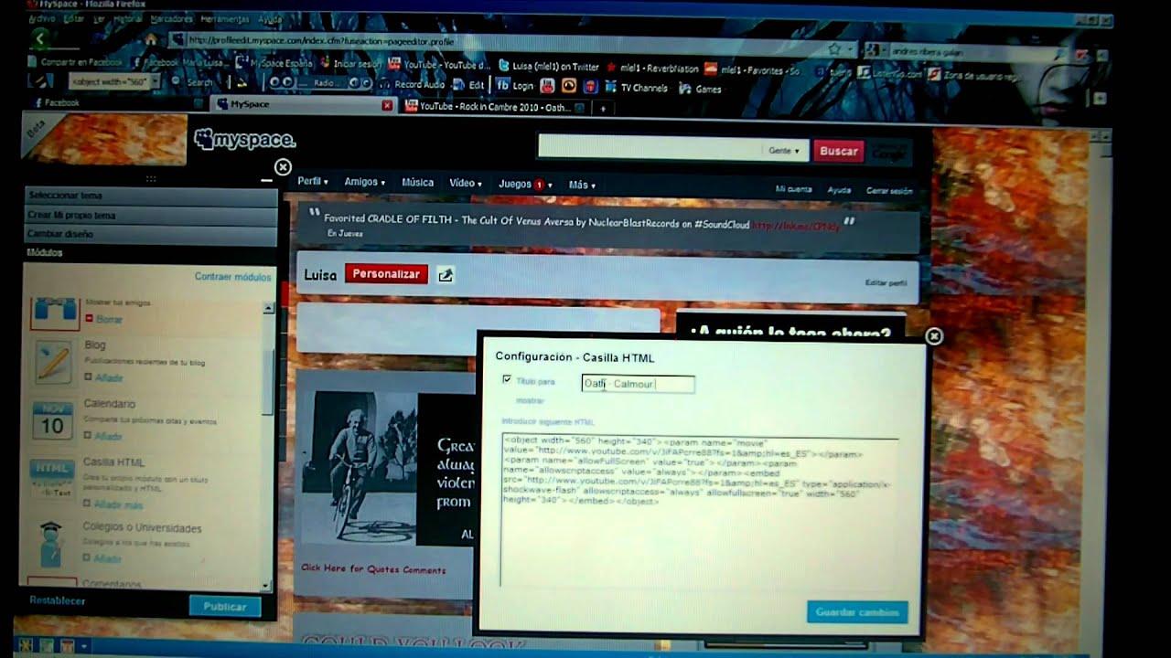 code html myspace profile updating