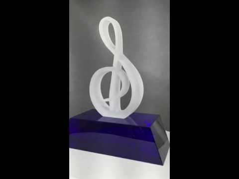 Glass Treble Clef Music Award on Custom Engraved Blue Base