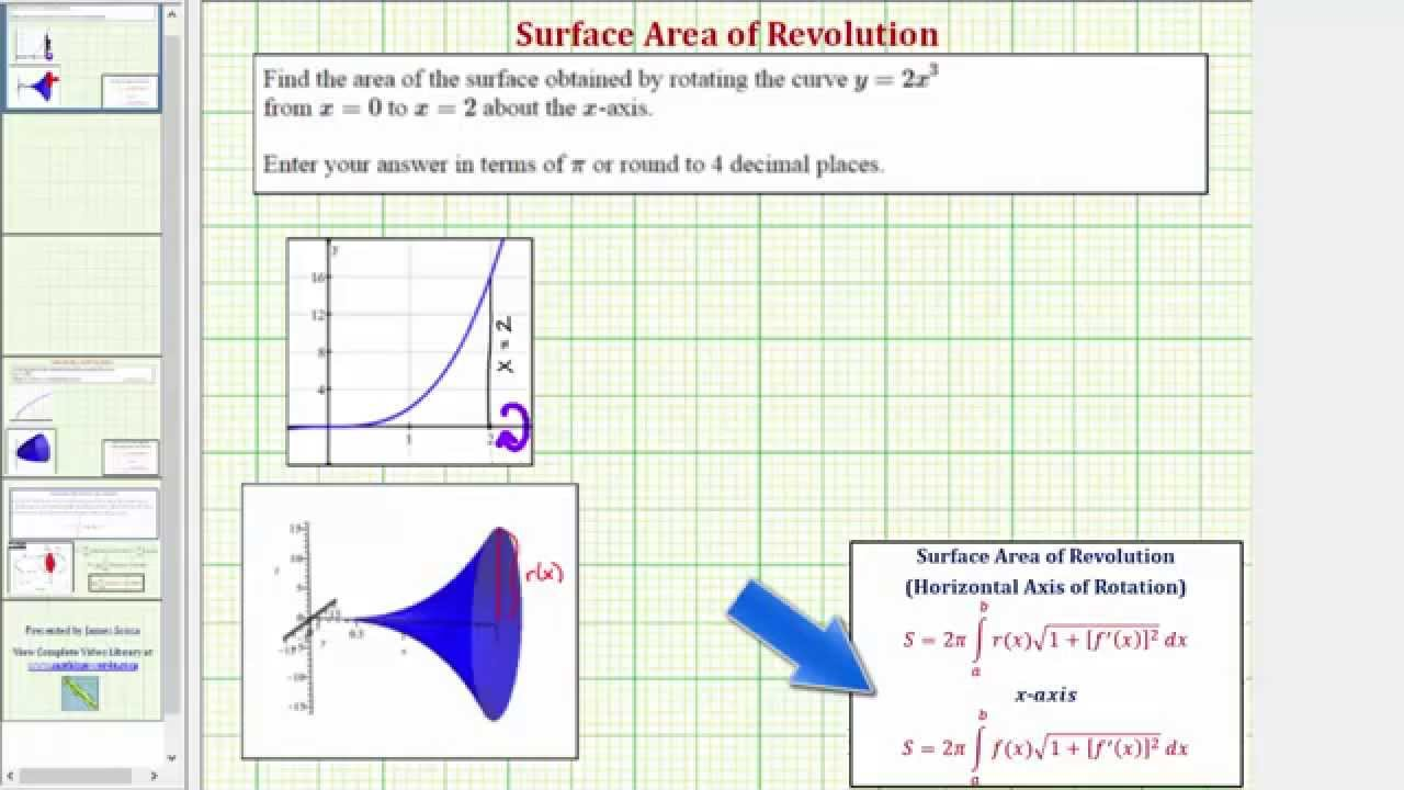 Ex: Find The Surface Area Of Revolution Of A Cubic Function About The Xaxis