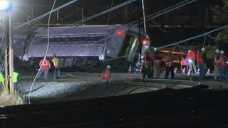 Surveillance video shows moment before train derailment