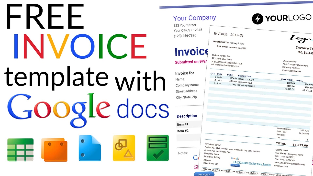 Free Invoice Template   How To Create An Invoice Using Google Docs Invoice  Template Inside Google Invoices Templates