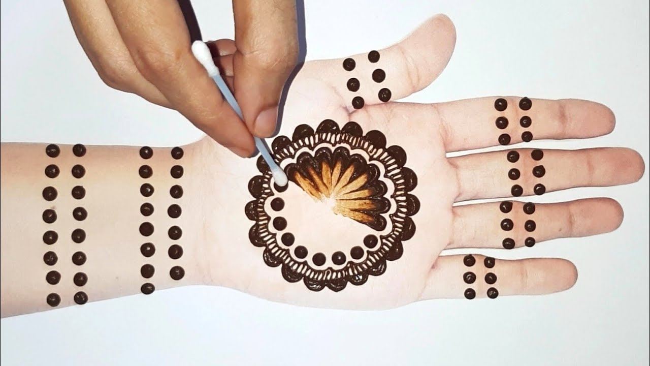 Easy Simple mehndi design   Cotton buds mehandi designs front hand   Arabic gol tikki mehndi designs
