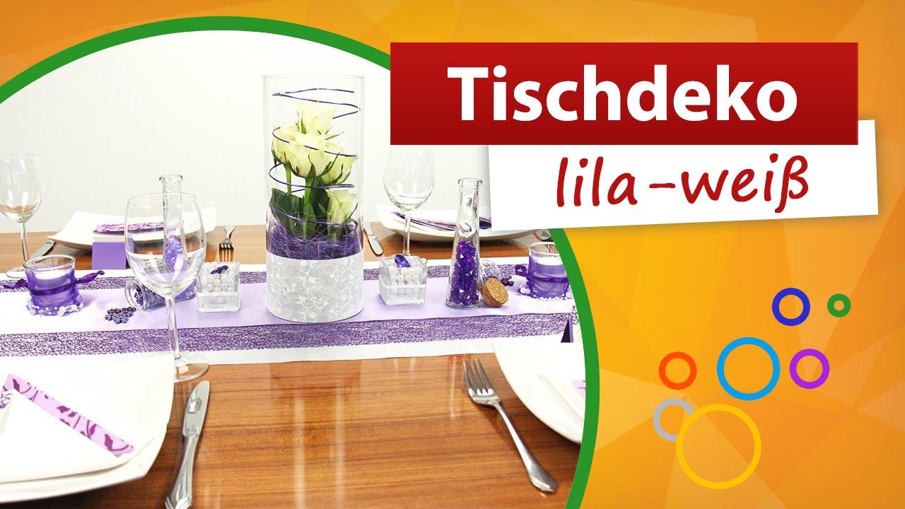 tischdeko lila wei tischdekoration trendmarkt24 youtube. Black Bedroom Furniture Sets. Home Design Ideas