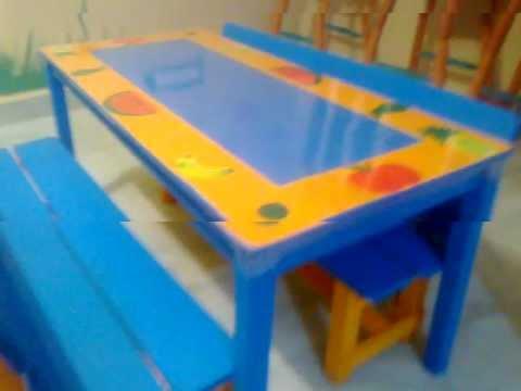 Dise o para mesas de preescolar youtube for Mesas de plastico para jardin