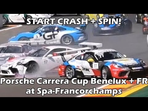 START CRASH + SPIN! Porsche Carrera Cup Challenge Benelux + France at Spa-Francorchamps 2018