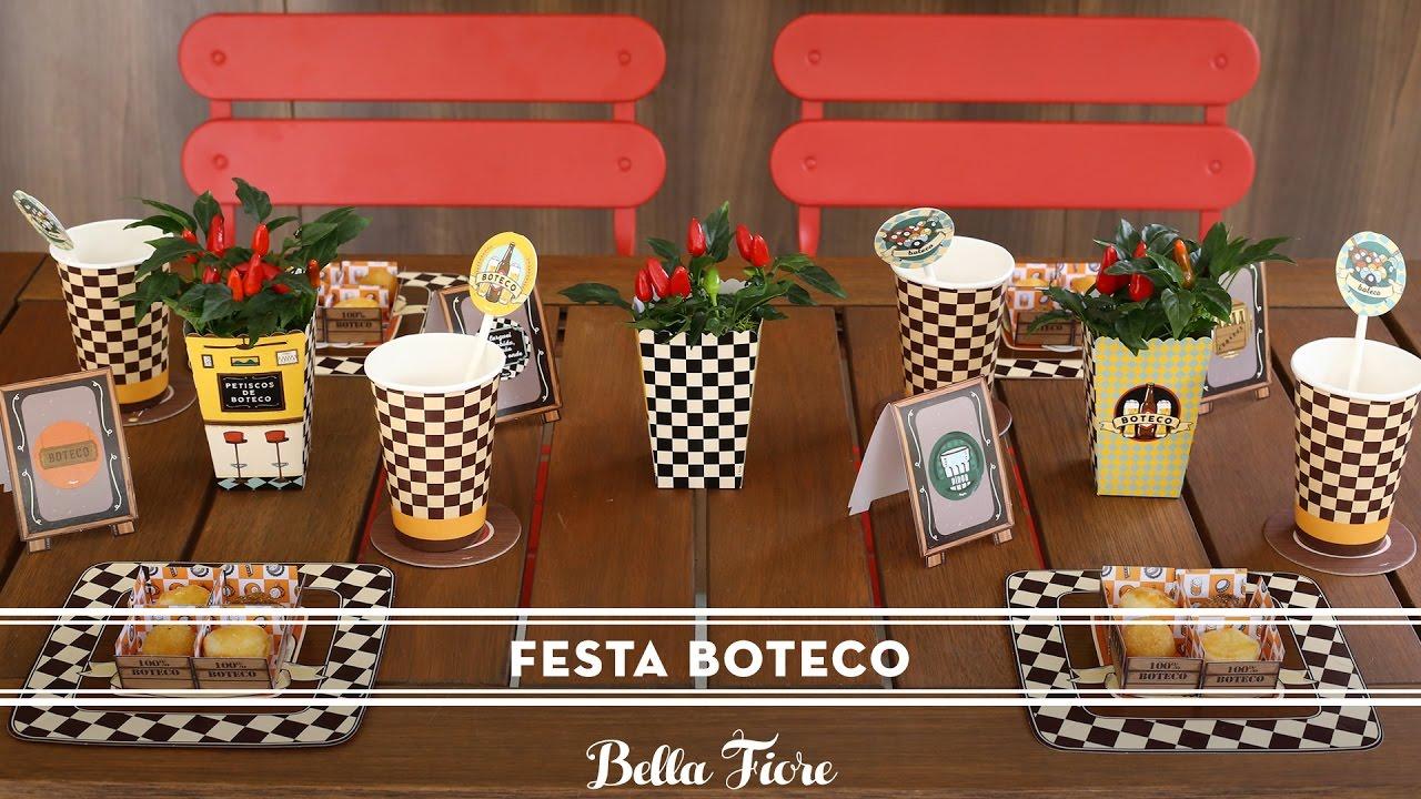Ideias decoraç u00e3o para festa Boteco Bella Fiore e Regina Festas YouTube # Decoração Para Festa Xadrez