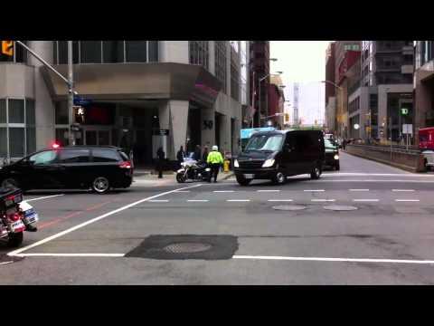 François Hollande's Motorcade Leaving Parliament Hill in Ottawa 720p