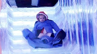 BABY SPEEDS DOWN FROZEN CHRISTMAS SLIDE!!