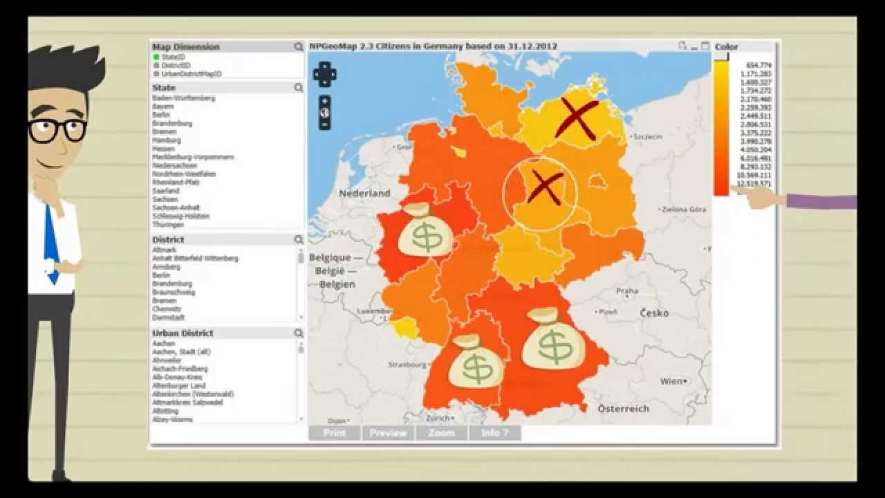 NPGeoMap Qlikview Map on
