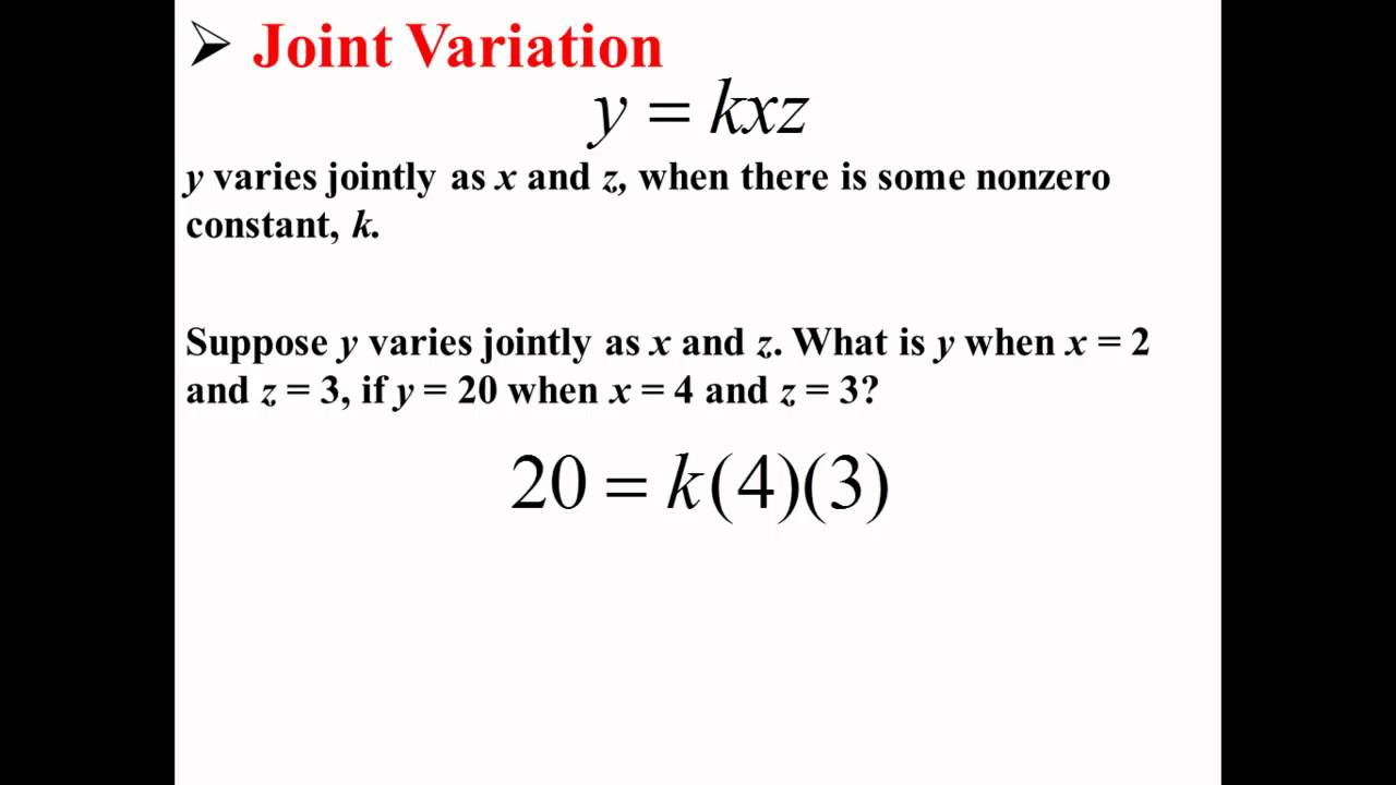 Joint or Combined Variation (solutions, examples, videos ...