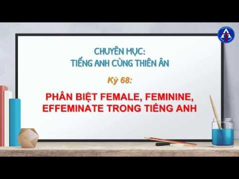 [TIẾNG ANH CÙNG THIÊN ÂN] - Kỳ 68 : Phân Biệt Feminine, Effeminate, Female Trong Tiếng Anh