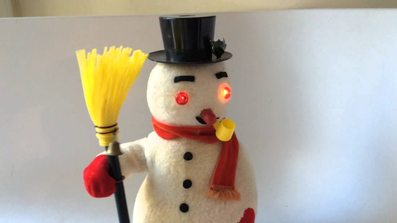 Snowman Battery Operated Vintage Toy Shakes Head Lights Up At Connectibles
