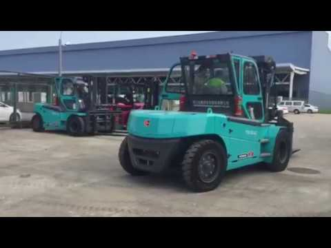 10Ton Rated Capacity Electric Forklift working in China Eastern Airlines airport