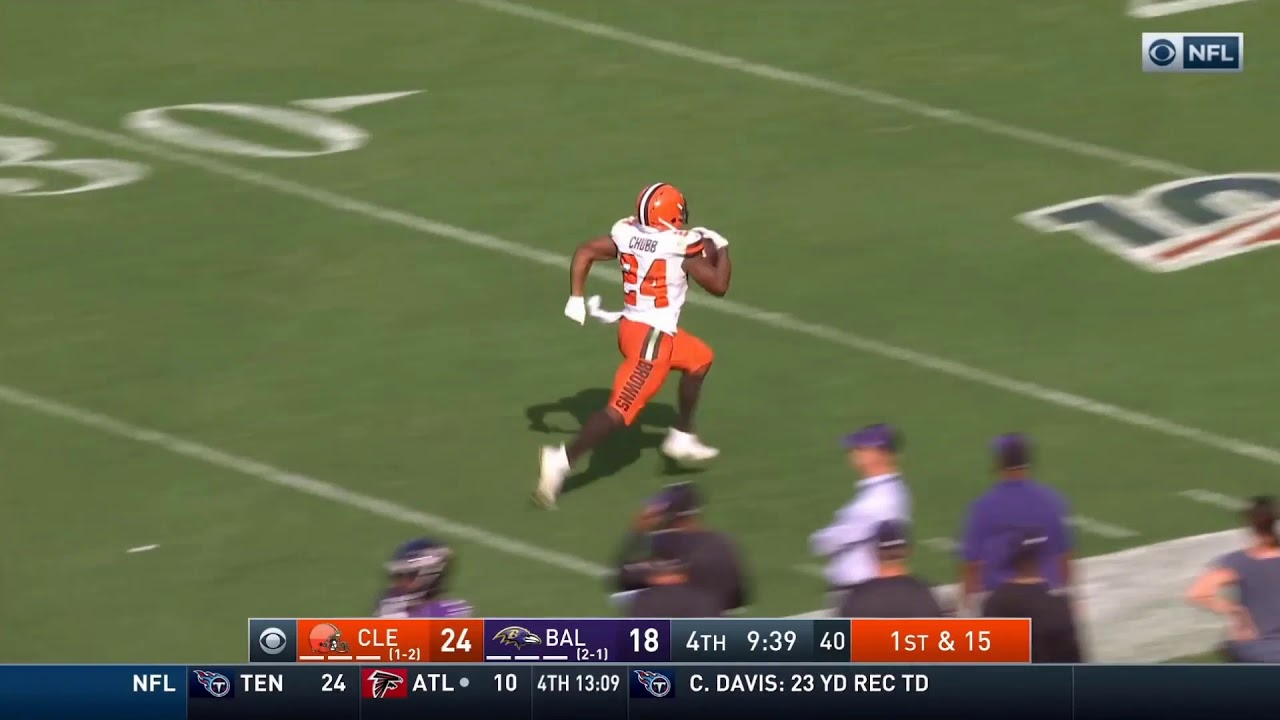 Nick Chubb goes 88 yards for third score against the Ravens