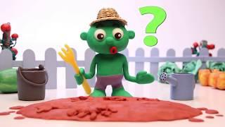 Hulk seeding carrots 💕 Superhero Play Doh Stop motion videos for children