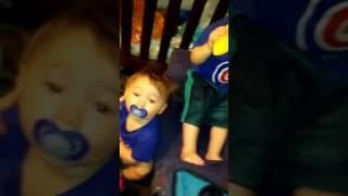Go Cubs Go! Youngest fan 18 month old baby saying his first 3 word phrase