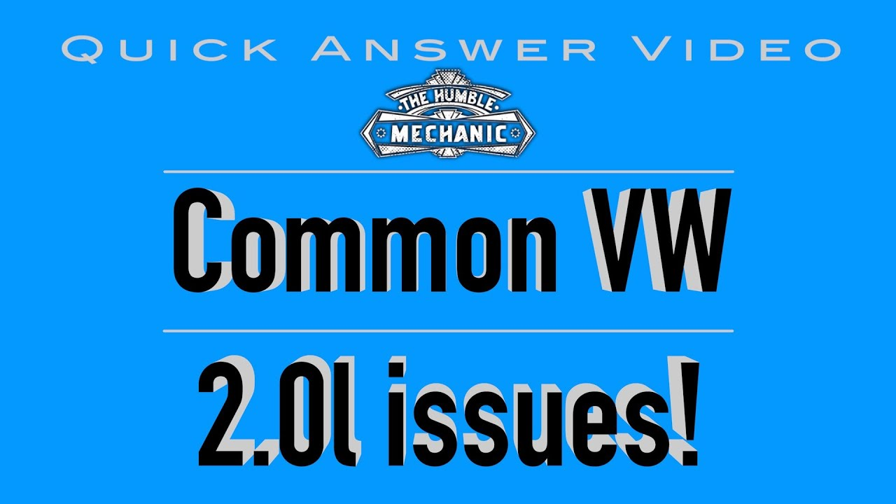Common Issues With Vw 20l Non Turbo Engines Youtube 2007 Jetta Engine Diagram