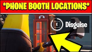 DISGUISE YOURSELF INSIDE A PHONE BOOTH LOCATIONS IN DIFFERENT MATCHES (Fortnite Season 2 Challenge)