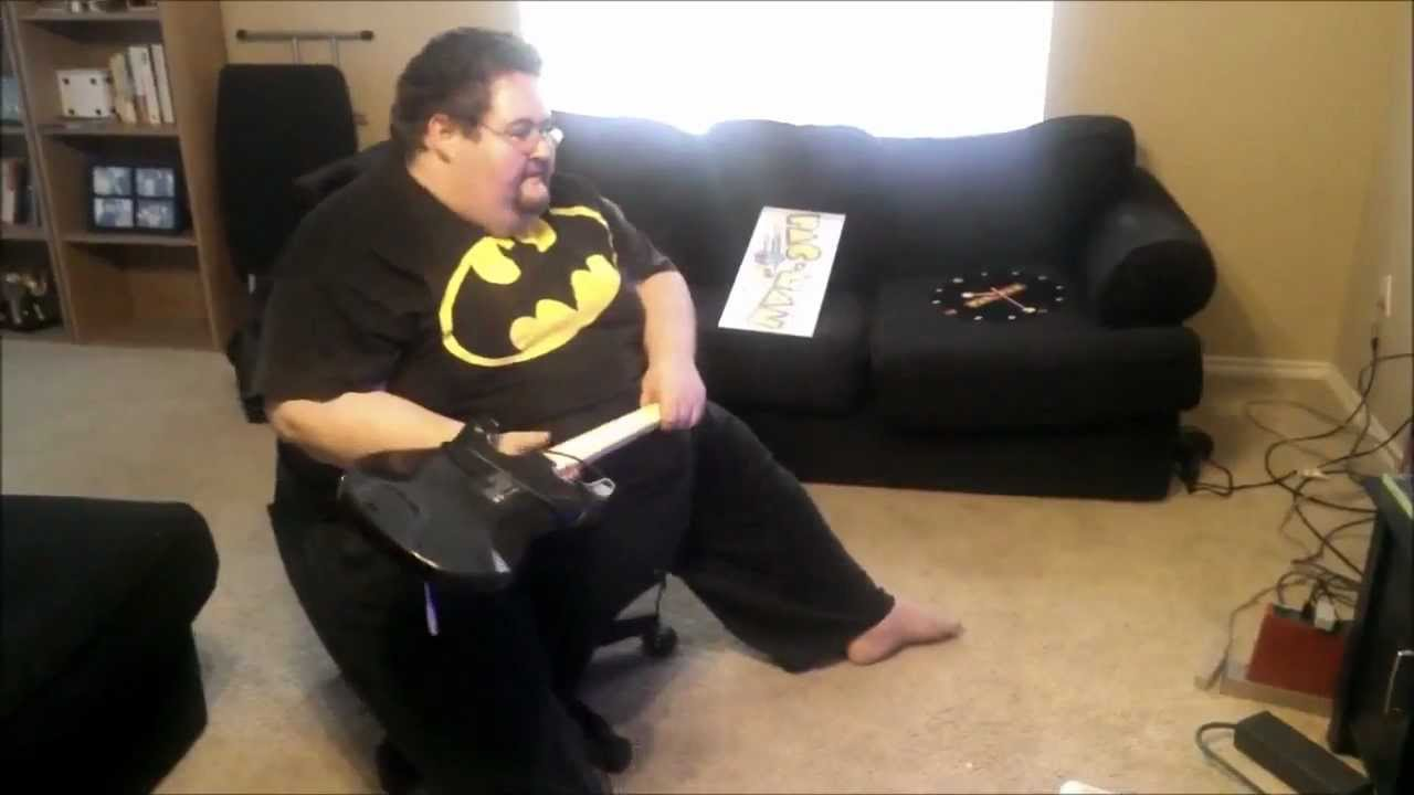 Fat guy playing with ass