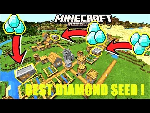 Minecraft PE - BEST DIAMOND VILLAGE SEED ! 3 DIAMOND BLACKSMITHS, 6 VILLAGES | MCPE 1.1