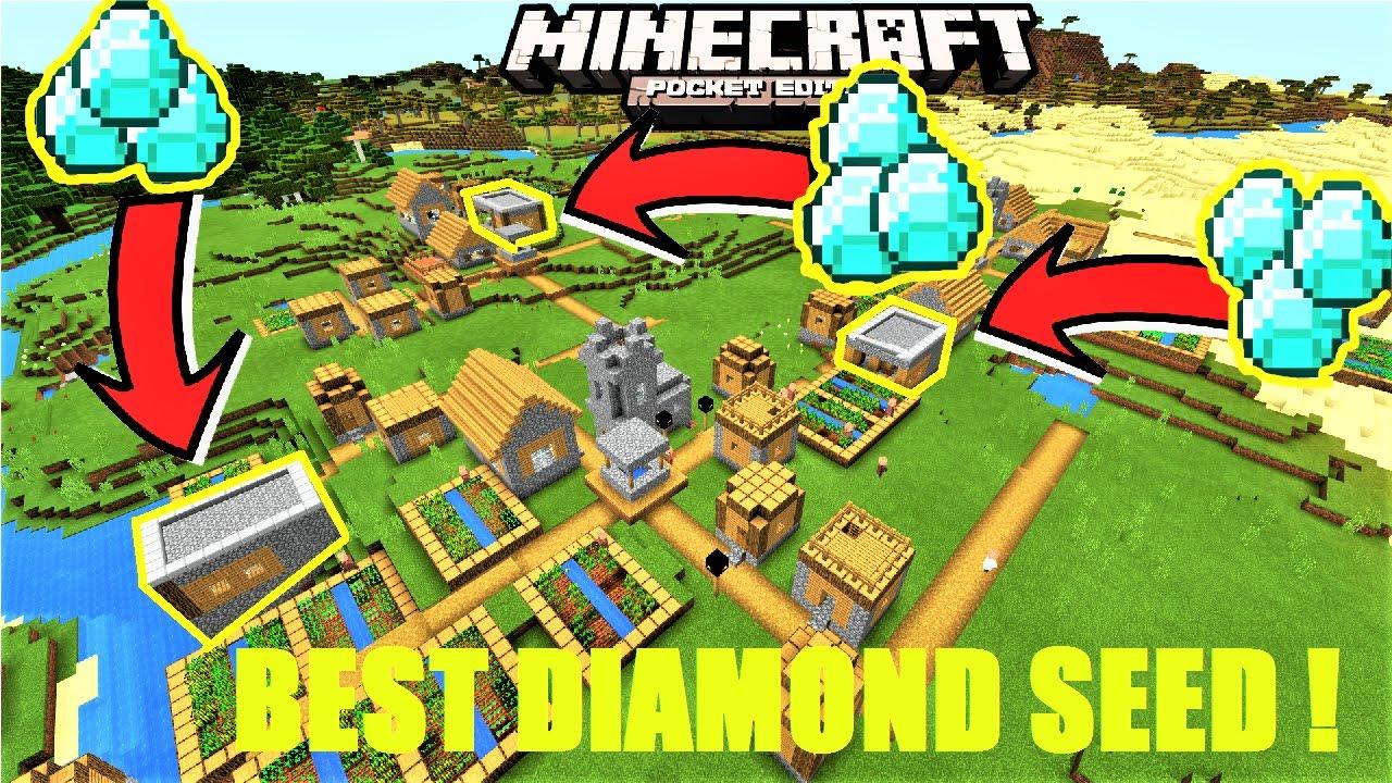 Minecraft PE - BEST DIAMOND VILLAGE SEED ! 11111111 DIAMOND BLACKSMITHS, 11111111  VILLAGES  MCPE 1111.1111