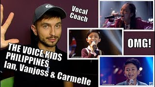 Vocal Coach YAZIK reacts to Ian Prelligera, Vanjoss Bayaban and Carmelle Collado THE VOICE KIDS PH