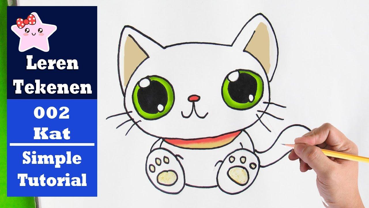 Hoe Teken Je Een Kawaii Kat Simpele Teken Tutorial 002