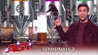 Dom Chambers: Australian Magician Gulps GIANT BEER and WOWS The Judges! | America's Got Talent 2019