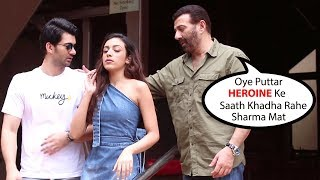 Karan Deol Gets Shy To Stand Beside Co-Star Sahher Bambba Infront Of Dad Sunny Deol