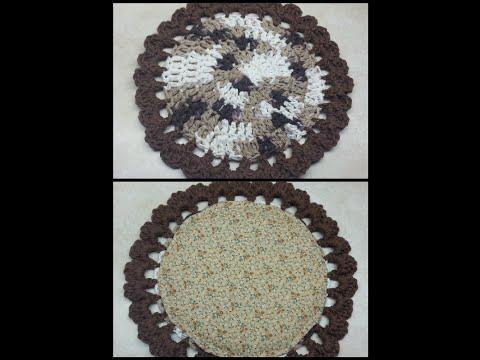 CROCHET How to #Crochet Easy Beginner Pot Holder with Hand Sewn Padded Liner #TUTORIAL #132 LEARN