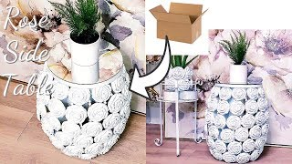 DIY ROSE SIDE TABLE - MIRROR AND VASE DECOR - CARDBOARD ROOM DECOR GIFT IDEAS!