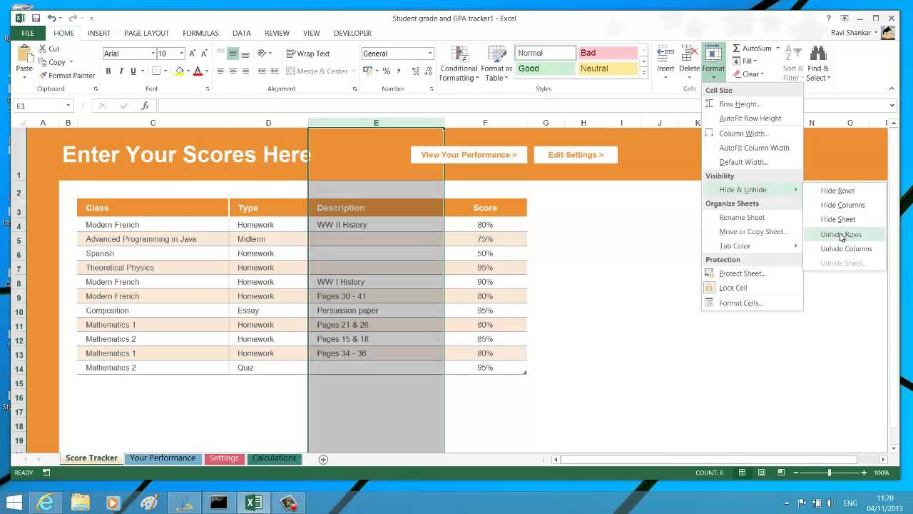 worksheet Unhide Worksheet In Excel 2010 hide or unhide rows columns worksheet and workbook in excel 2013 2013