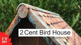 How to build a bird table with a 2 cent copper roof. The video shows the build process of bird house. It has a two cent coin roof with