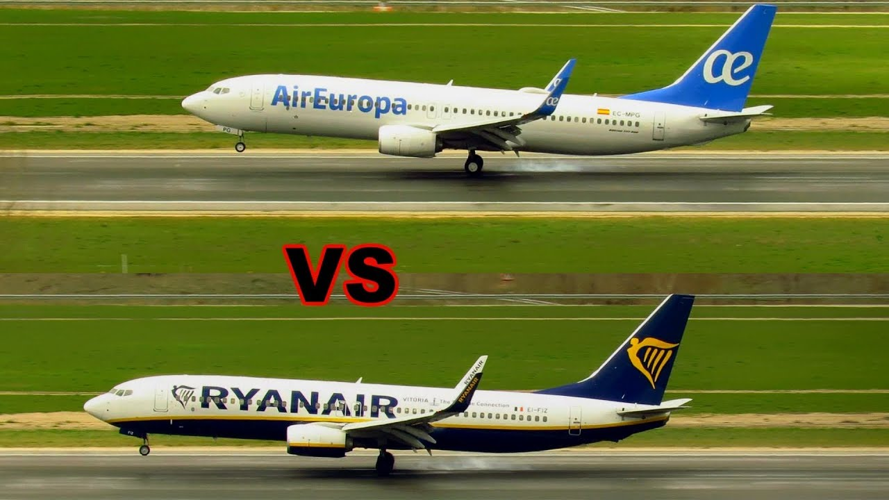 AIR EUROPA vs RYANAIR - Who Lands the 737-800 better? Madrid Airport Planespotting