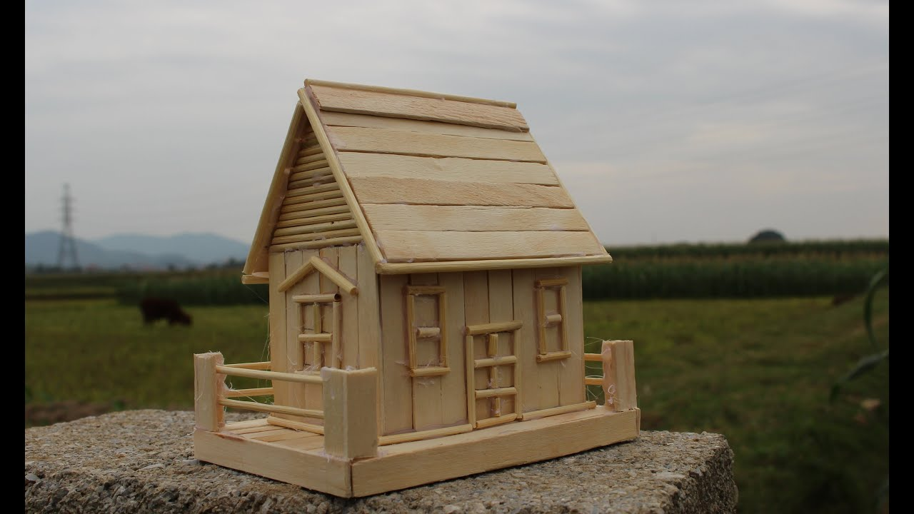 C mo hacer una casa utilizando palitos de helado youtube - Como hacer una maqueta de una casa ...