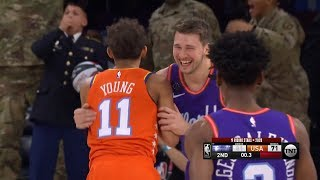 Luka Doncic Nails Half-Court Shot Over Trae Young - 2020 NBA Rising Stars Challenge