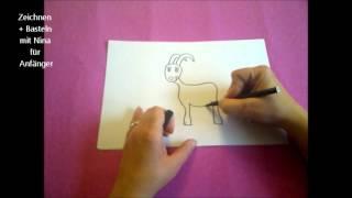 Zeichnen lernen für Anfänger.  Eine lustige Ziege zeichnen