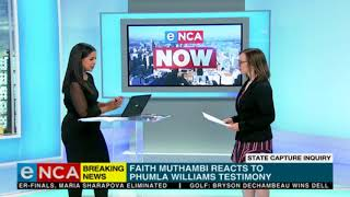 Faith Muthambi reacts to Phumla Williams Testimony