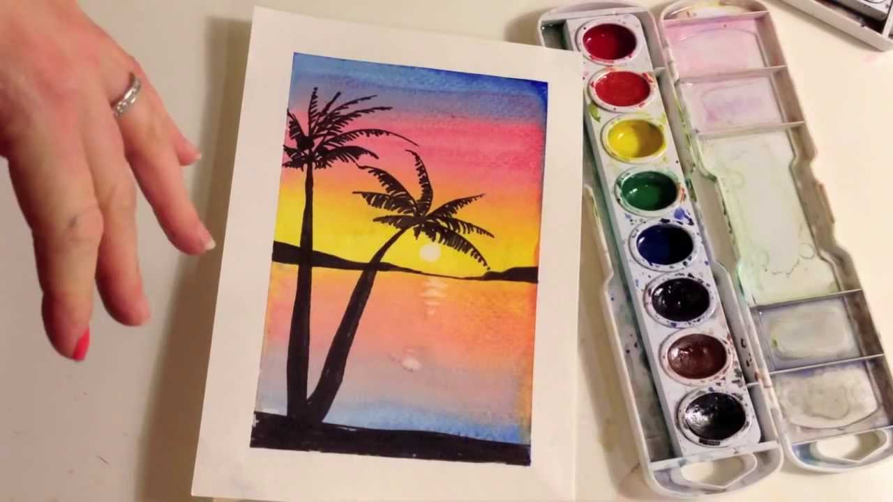 how to paint a sunset with palm trees in watercolor youtube. Black Bedroom Furniture Sets. Home Design Ideas