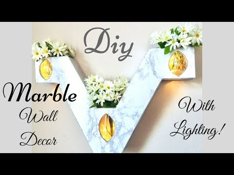 Diy Marble Wall Decor with Lighting!
