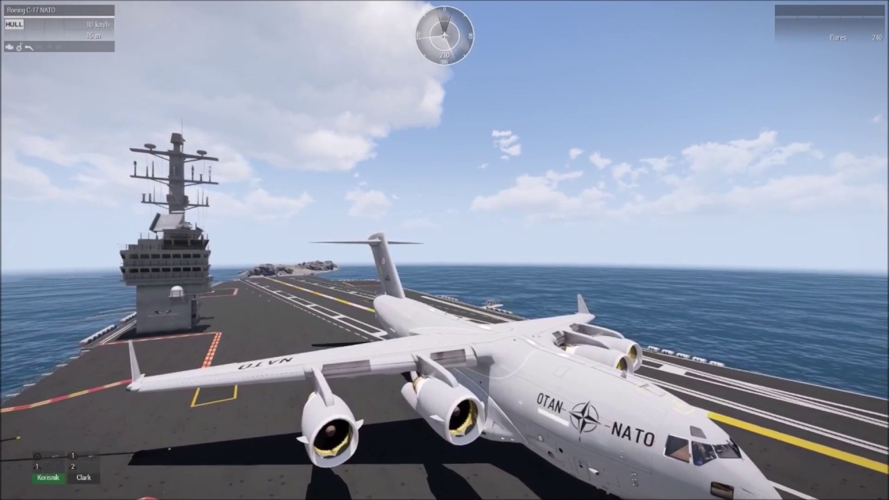 C 17 On Aircraft Carrier ARMA 3: LANDING C-17 O...