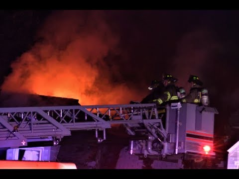 Hawthorne NJ Fire Department 3rd Alarm Fire Power Lines Arcing like Fireworks! 50 Sunrise Drive